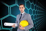 Composite image of serious architect holding plans and hard hat