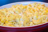 Macaroni and Cheese in Red Dish Closeup