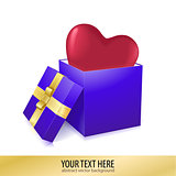 Open box with heart vector illustration