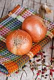 fresh onions and peppercorns