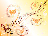 Musical notes on stave and flying butterflies