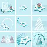 blue background with snowflakes and Christmas trees