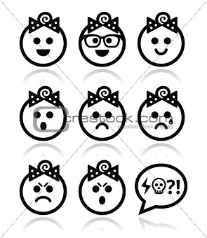 Baby girl faces, avatar vector icons set