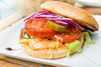 American cheese burger with fresh salad