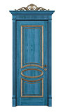 Blue classic door on white