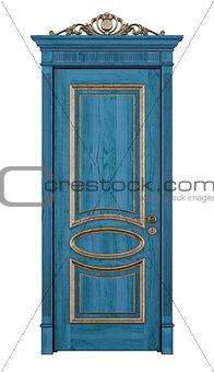 Blue classic door on white