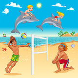 Funny summer scene with dolphins and beachvolley