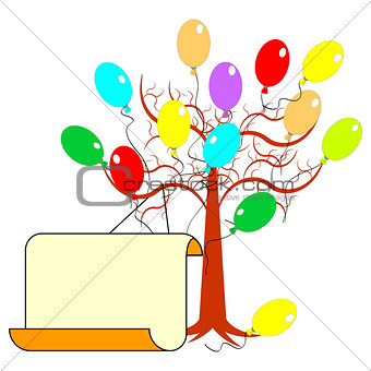 A tree with many colorful balloons and a big blank paper for con
