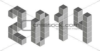 2014 digits from isometric cubes. Pseudo three dimensional