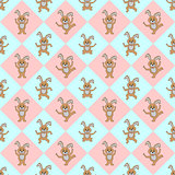 Design seamless colorful diamond children pattern with funny car