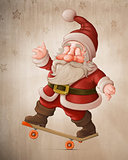 Santa Claus on skateboard