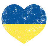 Ukraine retro heart flag - vector