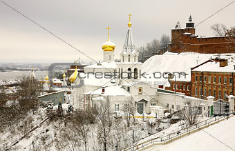 Winter december view of Church Elijah the Prophet and Kremlin Ni