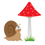 Illustration of a cartoon funny snail