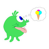 Cute cartoon monster and ice cream