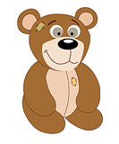 Cartoon cute bear on white background