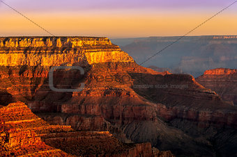 Colorful sunrise at Grand Canyon national park