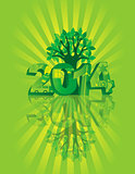 2014 Go Green with Symbols and Tree Sunray Background