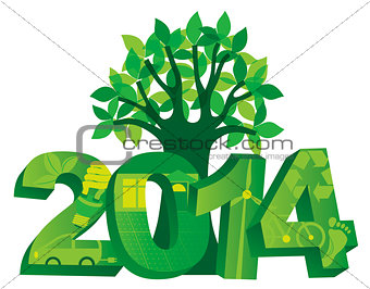 2014 Go Green with Symbols and Tree Illustration