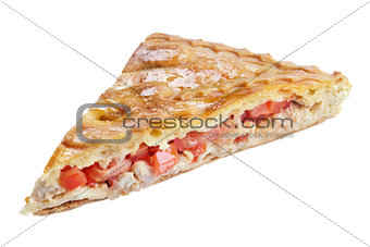 Slice of pie with tomato and chicken