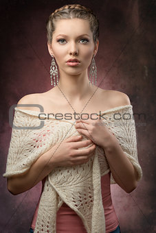 elegant woman with creative hair-style