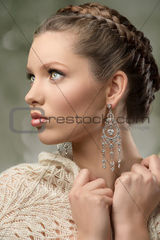 charming close-up of brunette woman
