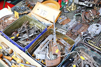Old tools and hardware on the flea market.