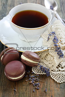 Macarons and sprigs of lavender.