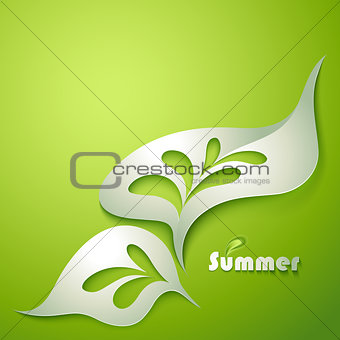Abstract paper leaf with green elements