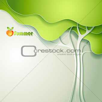Card with abstract paper tree