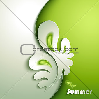 Abstract paper plant with green elements