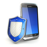 Mobile phone security concept. Cellphone and shield.