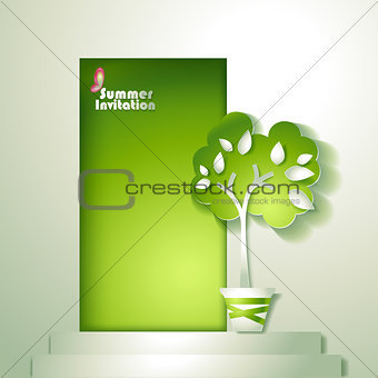 Card with stylized tree in pot near door