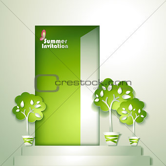 Card with stylized trees in pot near door