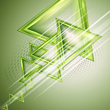 Green abstract background with triangles.