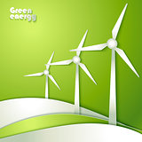 Group of Windmills silhouettes on green background.