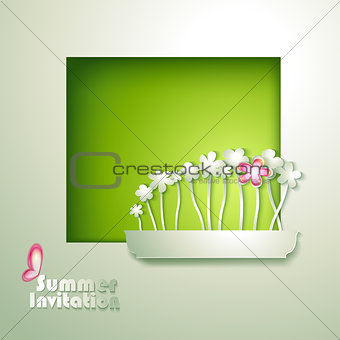 Card with window and flowerpot