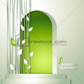 Card with door and and leaves