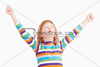 Boy with Closed Eyes Holding his Arms up