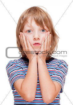 Boy with Blond Hair Suprised, Hands on his Cheeks