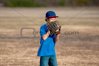 Cute young boy playing baseball outdoors