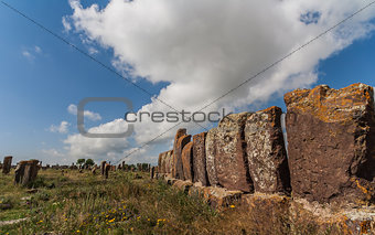 Tombstones at the Armenian graveyard Noratus