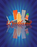 Portland Oregon Abstract Skyline Sunray Background Illustration