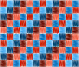 background squares blue red embroidery