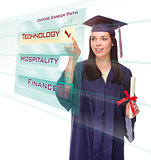 Young Female Graduate Choosing Technology Button on Translucent