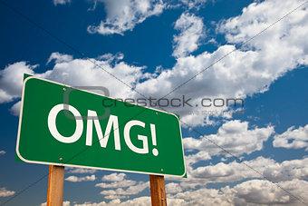 OMG! Green Road Sign Over Sky