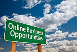 Online Business Opportunities Green Road Sign and Clouds