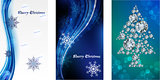 blue Christmas background, 3 cards
