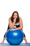 Fat woman with blue ball
