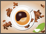 Coffee background with coffee cup and coffee beans, vector